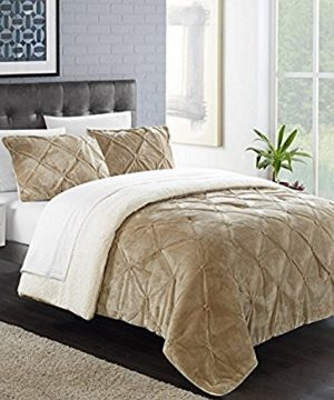 Chic Home 7 Piece Josepha Pinch Pleated Ruffled And Pintuck Sherpa Lined King Bed In A Bag Comforter Set Beige With White Sheets Included 0 300x360