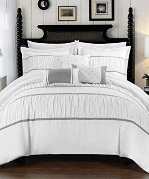 Chic Home Cheryl 10 Piece Comforter Set Complete Bed In A Bag Pleated Ruched Ruffled Bedding With Sheet Set And Decorative Pillows Shams Included King White 0 300x360