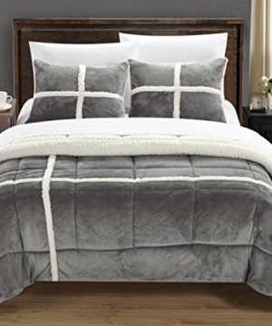 Chic Home Chloe 7 Piece Sherpa Lined Plush Microsuede Comforter Set King Silver Sheet Set And Pillow Shams Included 0 0 300x360