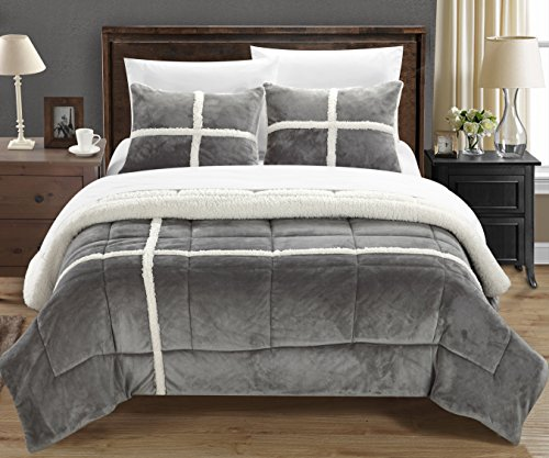 Chic Home Chloe 7 Piece Sherpa Lined Plush Microsuede Comforter Set King Silver Sheet Set And Pillow Shams Included 0 0