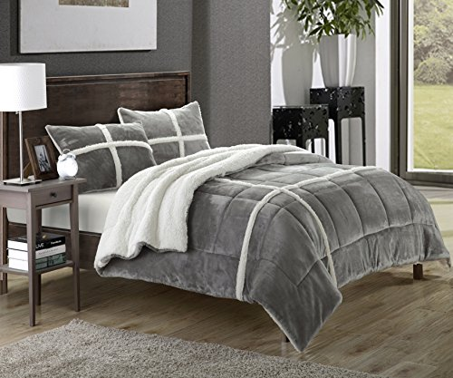 Chic Home Chloe 7 Piece Sherpa Lined Plush Microsuede Comforter Set King Silver Sheet Set And Pillow Shams Included 0
