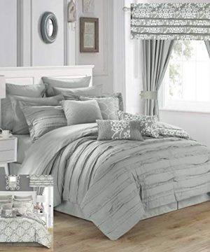 Chic Home Hailee 24 Piece Comforter Set Complete Bed In A Bag Pleated Ruffles And Reversible Print With Sheet Set And Window Treatment Queen Silver 0 300x360