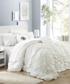 Chic Home Halpert 6 Piece Comforter Set Floral Pinch Pleated Ruffled Designer Embellished Bedding With Bed Skirt And Decorative Pillows Shams Included Queen White 0 300x360