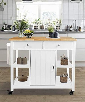 ChooChoo Kitchen Cart On Wheels With Wood Top Utility Wood Kitchen Islands With Storage And Drawers Easy Assembly White 0 300x360