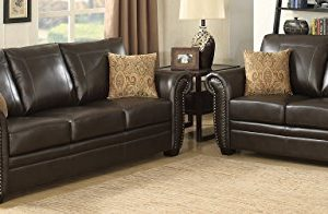 Christies Home Living 2 Piece Louis Traditional Fabric Stationary Sofa And Love Seat Living Room Set With Accented Nail Head Trim Brown 0 300x196