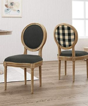 Christopher Knight Home 306409 Reed Upholstered Farmhouse Dining Chairs Black Checkerboard And Dark Gray Set Of 2 0 0 300x360