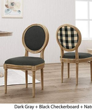 Christopher Knight Home 306409 Reed Upholstered Farmhouse Dining Chairs Black Checkerboard And Dark Gray Set Of 2 0 1 300x360