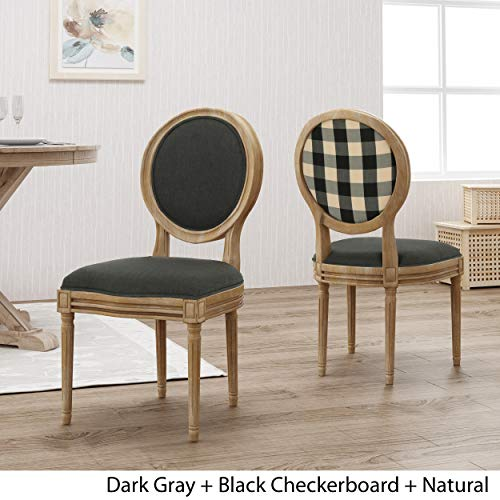 Christopher Knight Home 306409 Reed Upholstered Farmhouse Dining Chairs Black Checkerboard And Dark Gray Set Of 2 0 1