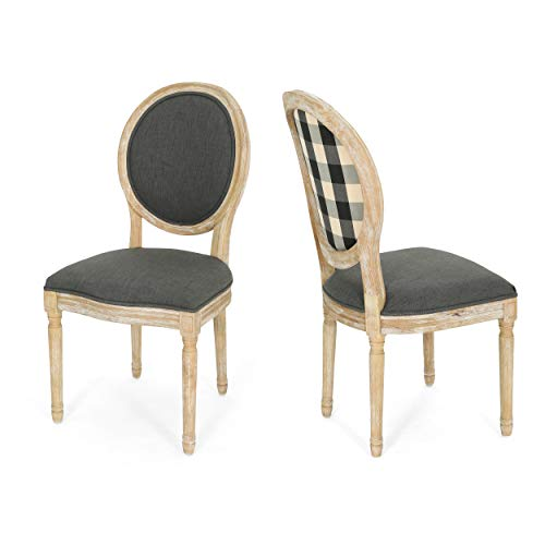Christopher Knight Home 306409 Reed Upholstered Farmhouse Dining Chairs Black Checkerboard And Dark Gray Set Of 2 0