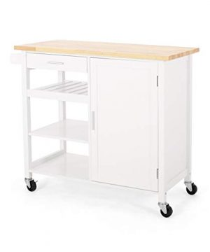 Christopher Knight Home Frances Contemporary Kitchen Cart With Wheels Natural White 0 300x360