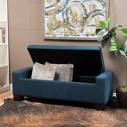 Christopher Knight Home Guernsey Fabric Storage Ottoman Dark Blue 0 2