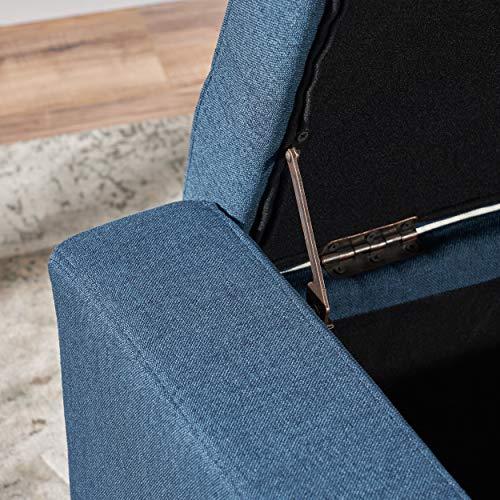 Christopher Knight Home Guernsey Fabric Storage Ottoman Dark Blue 0 3