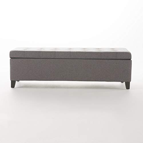 Christopher Knight Home Mission Fabric Storage Ottoman Grey 0 3