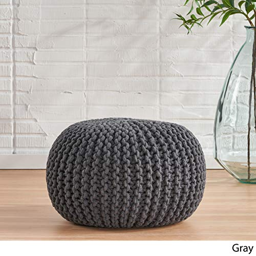 Christopher Knight Home Moro Fabric Pouf Grey 0 1