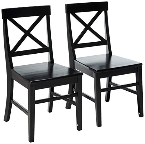 Christopher Knight Home Roshan Farmhouse Acacia Wood Dining Chairs Black 0