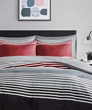 Comfort Spaces Colin 9 Piece Comforter Set All Season Microfiber Stripe Printed Bedding And Sheet With Two Side Pockets Full RedGrey 0 0 300x360