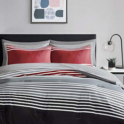 Comfort Spaces Colin 9 Piece Comforter Set All Season Microfiber Stripe Printed Bedding And Sheet With Two Side Pockets Full RedGrey 0 0