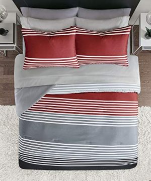Comfort Spaces Colin 9 Piece Comforter Set All Season Microfiber Stripe Printed Bedding And Sheet With Two Side Pockets Full RedGrey 0 1 300x360