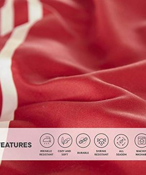 Comfort Spaces Colin 9 Piece Comforter Set All Season Microfiber Stripe Printed Bedding And Sheet With Two Side Pockets Full RedGrey 0 3 300x360