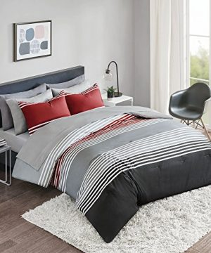 Comfort Spaces Colin 9 Piece Comforter Set All Season Microfiber Stripe Printed Bedding And Sheet With Two Side Pockets Full RedGrey 0 300x360