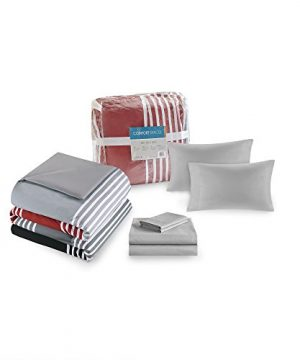 Comfort Spaces Colin 9 Piece Comforter Set All Season Microfiber Stripe Printed Bedding And Sheet With Two Side Pockets Full RedGrey 0 5 300x360