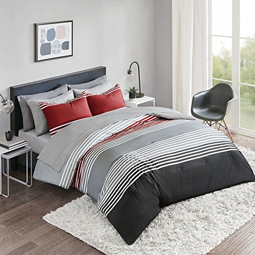 Comfort Spaces Colin 9 Piece Comforter Set All Season Microfiber Stripe Printed Bedding And Sheet With Two Side Pockets Full RedGrey 0