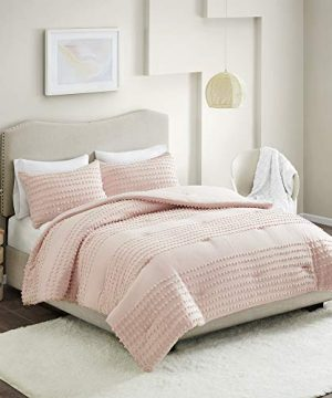 Comfort Spaces Phillips Comforter Reversible 100 Cotton Face Jacquard Tufted Chenille Dots Ultra Soft Overfilled Down Alternative Hypoallergenic All Season Bedding Set FullQueen Blush 0 0 300x360