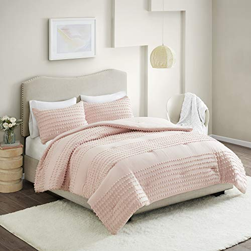 Comfort Spaces Phillips Comforter Reversible 100 Cotton Face Jacquard Tufted Chenille Dots Ultra Soft Overfilled Down Alternative Hypoallergenic All Season Bedding Set FullQueen Blush 0 0