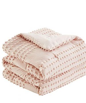 Comfort Spaces Phillips Comforter Reversible 100 Cotton Face Jacquard Tufted Chenille Dots Ultra Soft Overfilled Down Alternative Hypoallergenic All Season Bedding Set FullQueen Blush 0 1 300x360