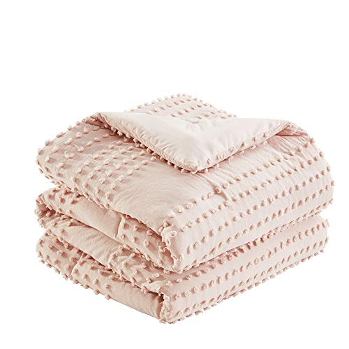 Comfort Spaces Phillips Comforter Reversible 100 Cotton Face Jacquard Tufted Chenille Dots Ultra Soft Overfilled Down Alternative Hypoallergenic All Season Bedding Set FullQueen Blush 0 1