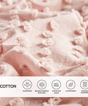 Comfort Spaces Phillips Comforter Reversible 100 Cotton Face Jacquard Tufted Chenille Dots Ultra Soft Overfilled Down Alternative Hypoallergenic All Season Bedding Set FullQueen Blush 0 4 300x360