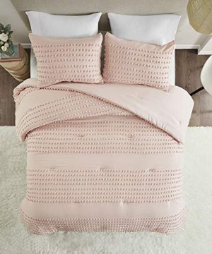 Comfort Spaces Phillips Comforter Reversible 100 Cotton Face Jacquard Tufted Chenille Dots Ultra Soft Overfilled Down Alternative Hypoallergenic All Season Bedding Set FullQueen Blush 0 5 300x360