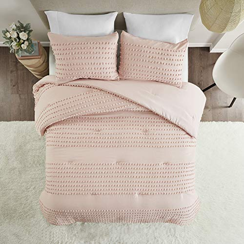 Comfort Spaces Phillips Comforter Reversible 100 Cotton Face Jacquard Tufted Chenille Dots Ultra Soft Overfilled Down Alternative Hypoallergenic All Season Bedding Set FullQueen Blush 0 5