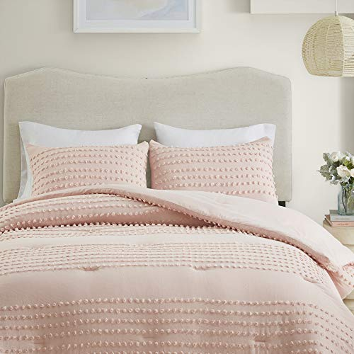 Comfort Spaces Phillips Comforter Reversible 100 Cotton Face Jacquard Tufted Chenille Dots Ultra Soft Overfilled Down Alternative Hypoallergenic All Season Bedding Set FullQueen Blush 0