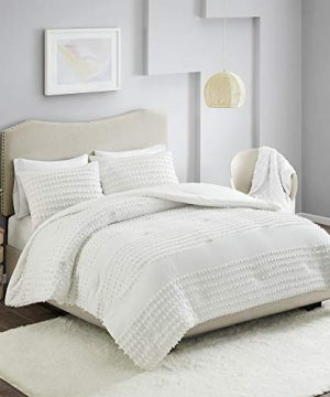 Comfort Spaces Phillips Comforter Reversible 100 Cotton Face Jacquard Tufted Chenille Dots Ultra Soft Overfilled Down Alternative Hypoallergenic All Season Bedding Set TwinTwin XL Ivory 0 0 300x360