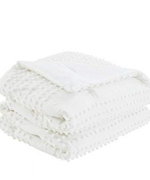 Comfort Spaces Phillips Comforter Reversible 100 Cotton Face Jacquard Tufted Chenille Dots Ultra Soft Overfilled Down Alternative Hypoallergenic All Season Bedding Set TwinTwin XL Ivory 0 1 300x360