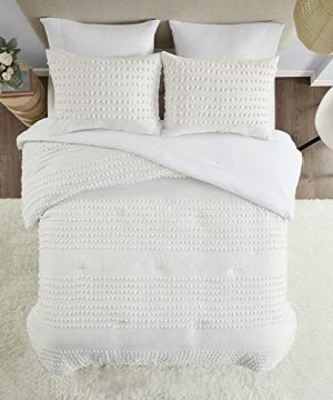 Comfort Spaces Phillips Comforter Reversible 100 Cotton Face Jacquard Tufted Chenille Dots Ultra Soft Overfilled Down Alternative Hypoallergenic All Season Bedding Set TwinTwin XL Ivory 0 2 300x360