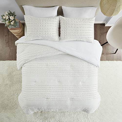 Comfort Spaces Phillips Comforter Reversible 100 Cotton Face Jacquard Tufted Chenille Dots Ultra Soft Overfilled Down Alternative Hypoallergenic All Season Bedding Set TwinTwin XL Ivory 0 2
