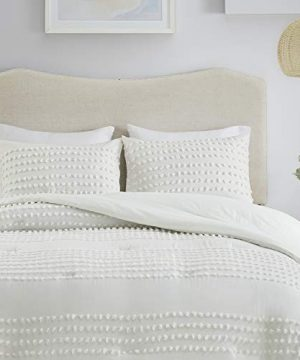 Comfort Spaces Phillips Comforter Reversible 100 Cotton Face Jacquard Tufted Chenille Dots Ultra Soft Overfilled Down Alternative Hypoallergenic All Season Bedding Set TwinTwin XL Ivory 0 300x360