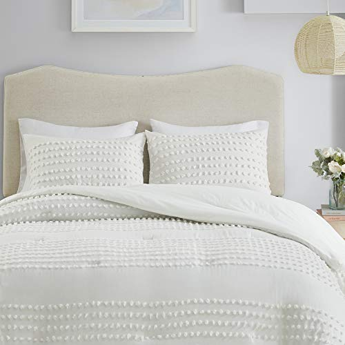 Comfort Spaces Phillips Comforter Reversible 100 Cotton Face Jacquard Tufted Chenille Dots Ultra Soft Overfilled Down Alternative Hypoallergenic All Season Bedding Set TwinTwin XL Ivory 0