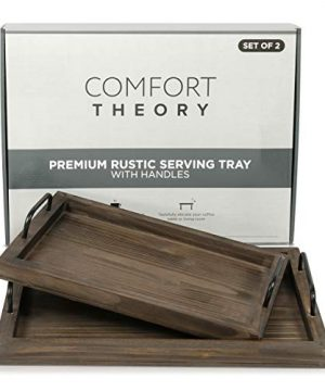 Comfort Theory Wooden Accent Tray With Handles Set Of 2 Decorative Serving Trays For Ottomans Coffee Table Lightweight Portable Farmhouse Rustic Trays For Breakfast In Bed Chocolate Brown 0 2 300x360