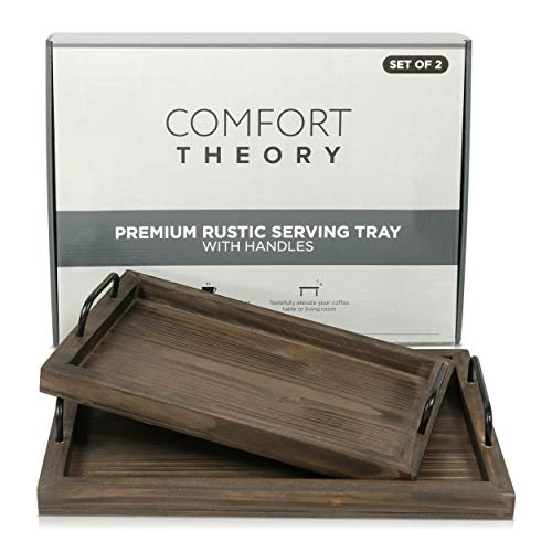 Comfort Theory Wooden Accent Tray With Handles Set Of 2 Decorative Serving Trays For Ottomans Coffee Table Lightweight Portable Farmhouse Rustic Trays For Breakfast In Bed Chocolate Brown 0 2