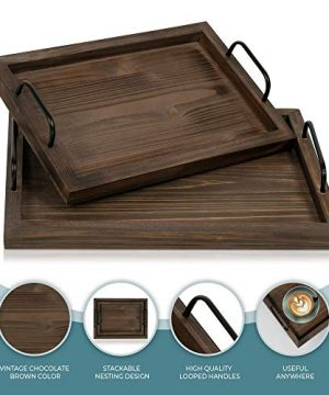 Comfort Theory Wooden Accent Tray With Handles Set Of 2 Decorative Serving Trays For Ottomans Coffee Table Lightweight Portable Farmhouse Rustic Trays For Breakfast In Bed Chocolate Brown 0 4 300x360