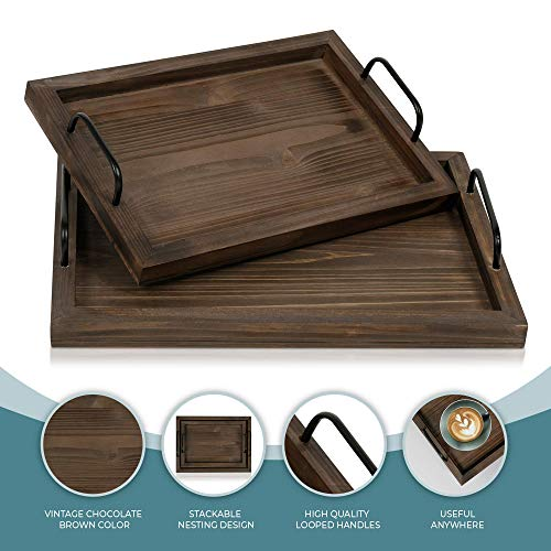 Comfort Theory Wooden Accent Tray With Handles Set Of 2 Decorative Serving Trays For Ottomans Coffee Table Lightweight Portable Farmhouse Rustic Trays For Breakfast In Bed Chocolate Brown 0 4