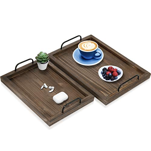 Comfort Theory Wooden Accent Tray With Handles Set Of 2 Decorative Serving Trays For Ottomans Coffee Table Lightweight Portable Farmhouse Rustic Trays For Breakfast In Bed Chocolate Brown 0