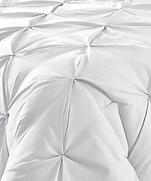Comfy Bedding 3 Piece Pinch Pleat Comforter Set All Season Pintuck Style Double Needle Durable Stitching Queen White 0 0 300x360