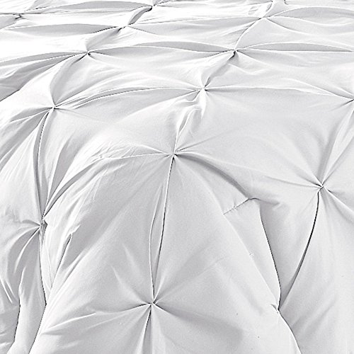 Comfy Bedding 3 Piece Pinch Pleat Comforter Set All Season Pintuck Style Double Needle Durable Stitching Queen White 0 0