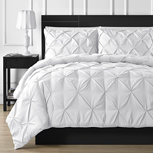 Comfy Bedding 3 Piece Pinch Pleat Comforter Set All Season Pintuck Style Double Needle Durable Stitching Queen White 0