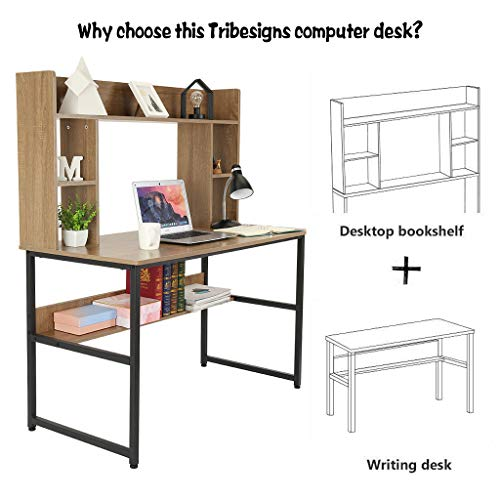 Computer Desk With Hutch And Bookshelf 47 Writing Desk With Storage Shelf Students Study Table Home Office PC Laptop Table Modern Wood Workstation 0 0