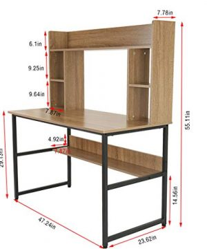 Computer Desk With Hutch And Bookshelf 47 Writing Desk With Storage Shelf Students Study Table Home Office PC Laptop Table Modern Wood Workstation 0 3 300x360